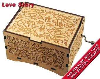 "Jewelry Music Box, ""Love Story"", Laser Engraved Wood Hand Crank Music Box"