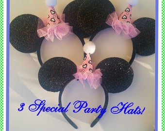 3 pc Birthday Party Hat  Minnie Mouse ears Headband