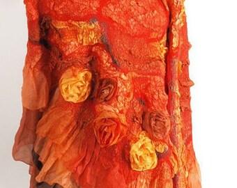Sunny Orange Yellow Burgundy Shawl Shanty. Fashion merino wool nuno felted shawl wrap. OOAK. Vintage Warm Wool silk stole. Gift for her