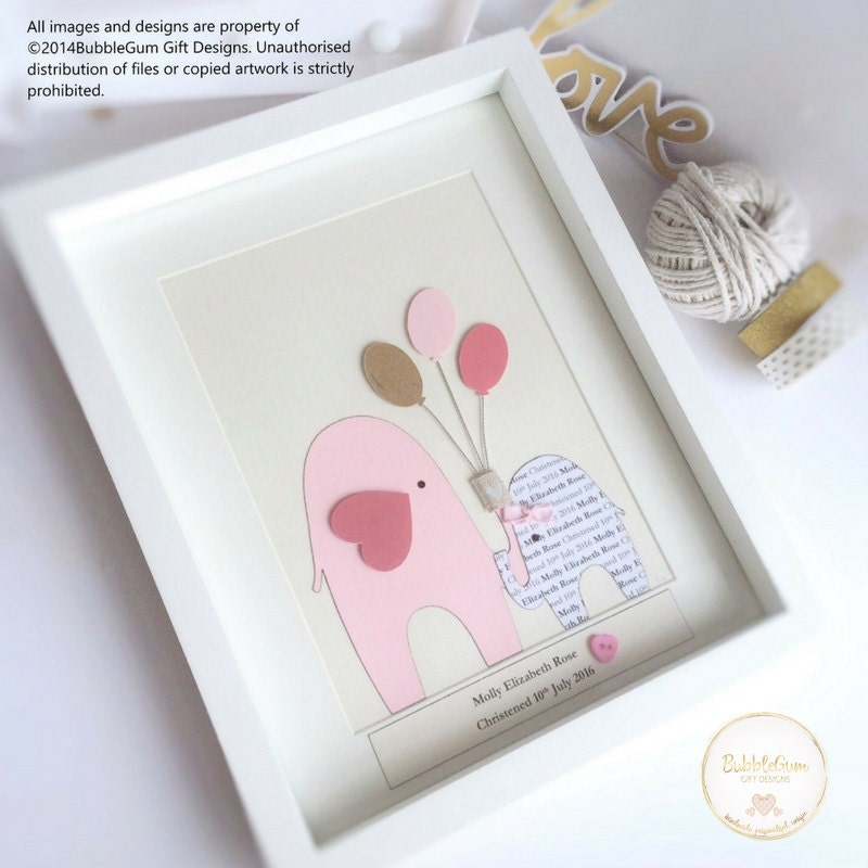 Handmade Baby Gifts Uk : Personalised new baby girl gift handmade boxed frame pink
