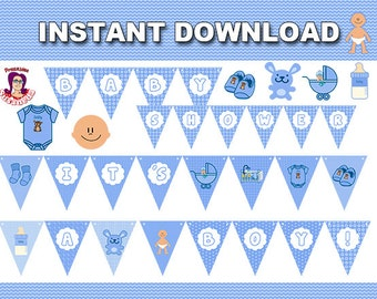 Instant Download Blue and White Ahoy Its a Boy Baby Shower Banner Printable, Instant Download, Baby Shower Decoration, Decorative Flags