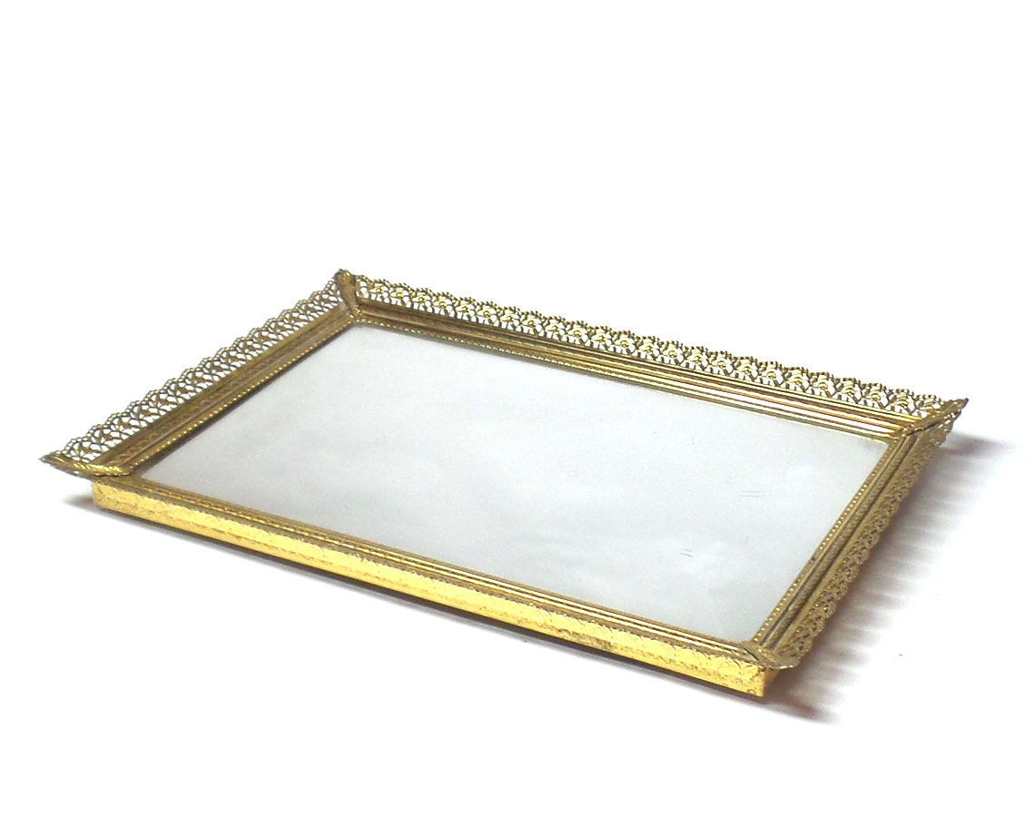 Vintage metal vanity tray for Bathroom tray