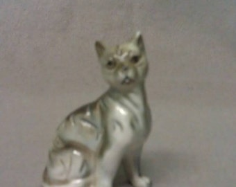 Grey and Beige Cat Figurine