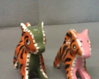 Zebra Stripe Cats with Pink and Green Salt and Pepper Shaker Set