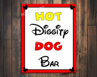Mickey mouse birthday party sign, Hot diggity dog bar, Mickey Mouse favors, Mickey mouse birthday, Mickey mouse, 8X10 INSTANT DOWNLOAD