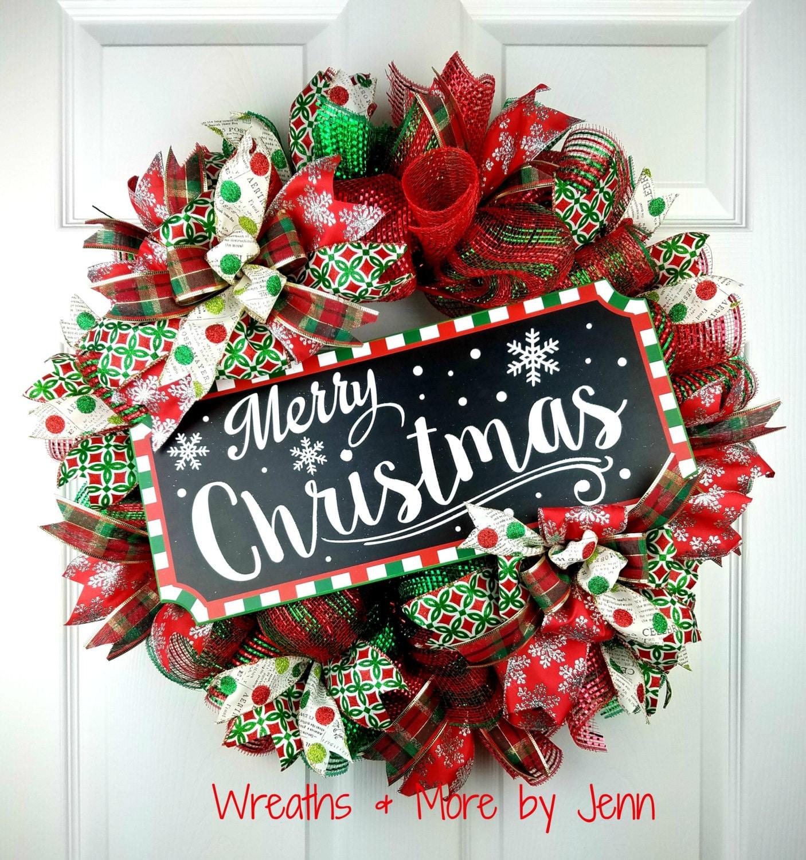 Deco Mesh Christmas Tree Wreath: Christmas Deco Mesh Wreath Merry Christmas Wreath Holiday