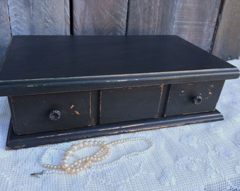Classic Black Vintage Jewelry Box - Shabby Chic - Handpainted, Distressed Jewellery Box