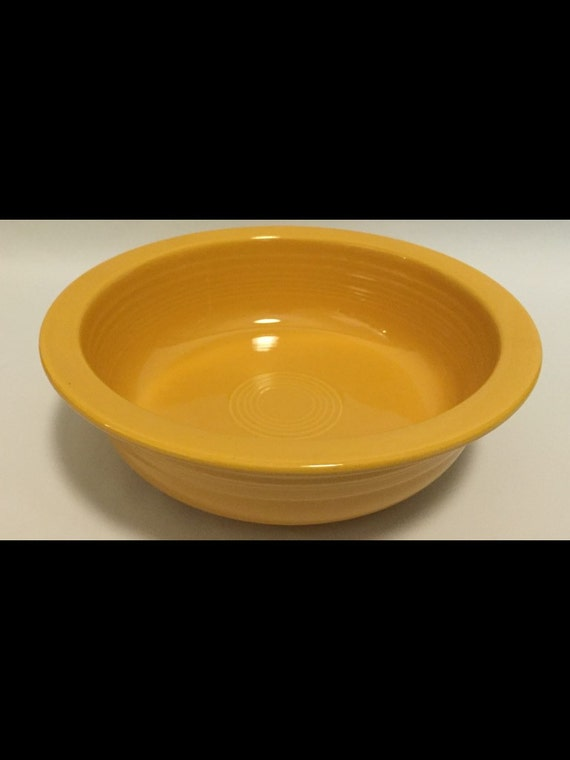 "FREE SHIPPING-Vintage-Yellow-Nappy-Fiesta Ware-Homer Laughlin-Made USA-8 1/2""-Bowl"