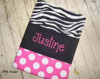 PERSONALIZED COMPOSITION BOOKCOVER - Journal Cover - Sketchbook Cover -Teacher Gift- Hostess Gift - Zebra Print, Black and Hot Pink