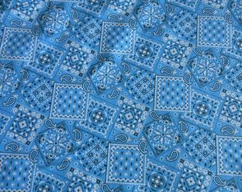 Royal Blue Bandana cotton fabric 1 yard