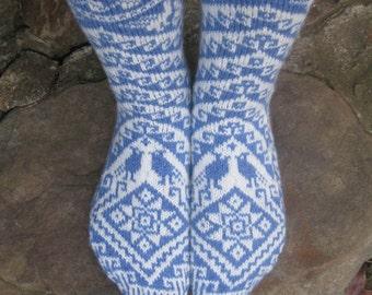 Handknit Wool Socks, Blue & White Bird, Aztec, Fair Isle Socks, Merino, Woman's 8, 9, fairisle