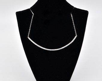 Sterling Silver Rhodium Plated Large Curved Bar Necklace