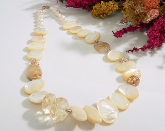 Faceted Citrine, Rutilated Quartz, Mother of Pearl Shell, Swarovski Crystals and Freshwater Pearls with Gold Filled Findings.