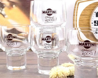 Six old glasses to Martini Vintage 1970 - Vintage Martini Glassware - Martini on the Rocks