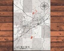 AUBURN Alabama Vintage map Auburn City Alabama Vintage map Art Print poster USA retro old map Auburn antique Alabama United States America