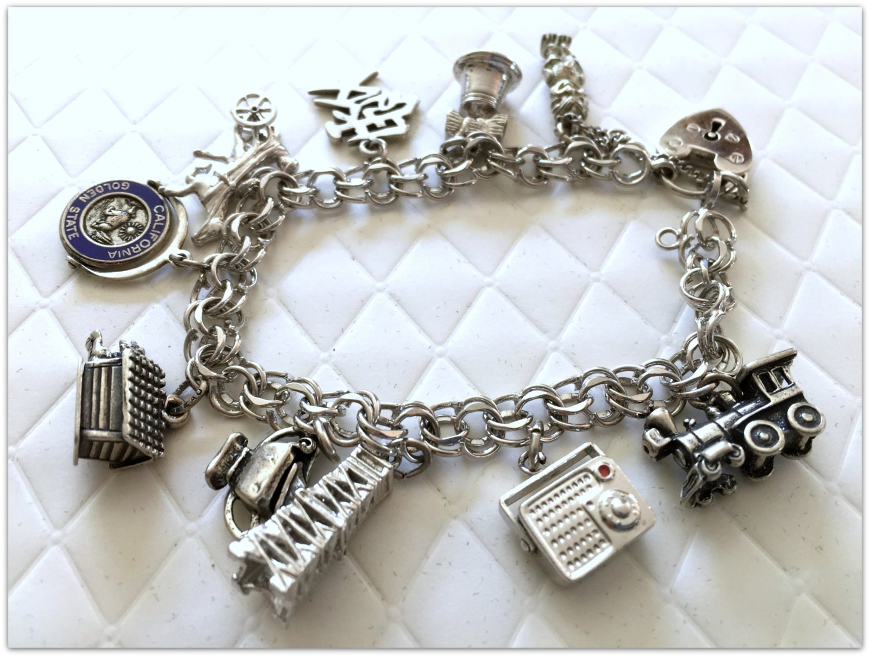 Vintage Sterling Silver Charm Bracelet/1960s American Silver
