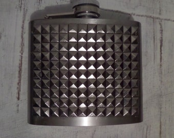 Silver studded stainless steel flask
