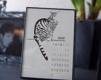 Tabby Cat Desk Calendar, 2017, Flexible Dates, 5x7, 12 Month Individual Page Calendar