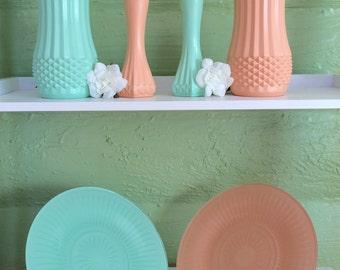 Mint Peach, Gender Reveal, Peach Mint, Vases, Cake Stand,, Table Setting, Wedding, Baby Shower, Bridal Shower, vase set