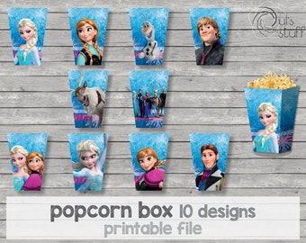 Printable Frozen popcorn box