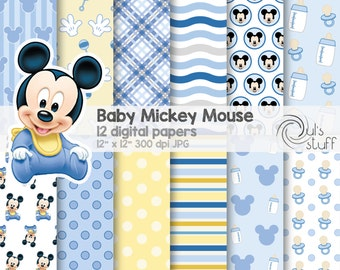 """Baby Mickey Mouse, blue, digital paper pack, instant download, 12"""" x 12"""""""