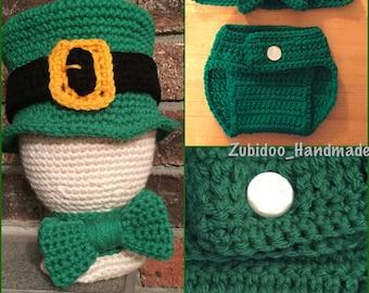 Leprechaun crochet photo prop set St Patrick's Day newborn infant