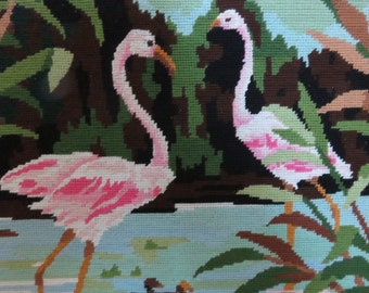 rare canvas tapestry flamingo made in France mid century 1950 1960 '50s 60's french vintage tapestry canvas