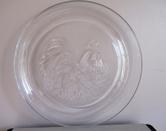 Clear Glass Rooster Serving Tray