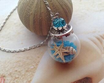 Nautical Beach Glass Vial Globe Real Shell Starfish Pendant Necklace Jewellery Sea Blue Bead