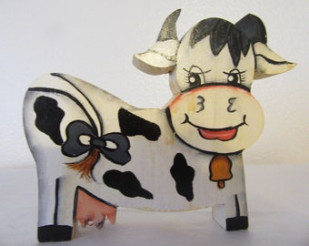 Shelf Sitter Happy Cow Vintage Handmade Hand Painted by my DAD Wooden Country Decor Country Home Gift Idea Cow Collector Farm Animals