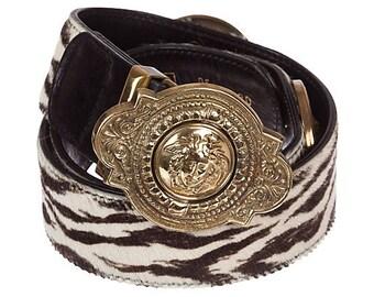 Versace Medusa Zebra-Print Leather Belt