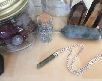 Labradorite Pencil Pendant Necklace