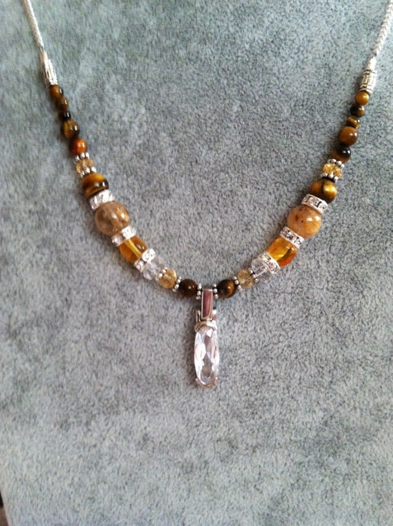 Personal Power necklace with Quartz Crystal Pendant, Charged in Sedona and Reiki charged, Naval Chakra, Citrine, Amber and Rutilated Quartz