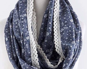Lace Trimmed Infinity Scarf