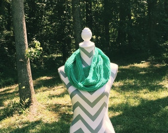 Emerald Green Cotton Cowl, Infinity Scarf, Garter Stitch