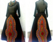 Black & maroon maxi skirt + pockets, a choice of 10 different colour ways. Dashiki skirt, Katenga skirt, African print skirt, Ankara skirt