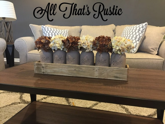 Large mason jar centerpiece table by