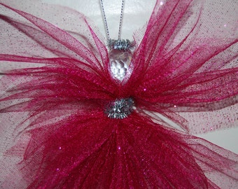 Hot Pink Tulle Angel ** Valentine's  ** Christmas ** SPRING **Wall/Window/Mirror Decoration ** Glittering Angel ** Angel for Everyone!! **