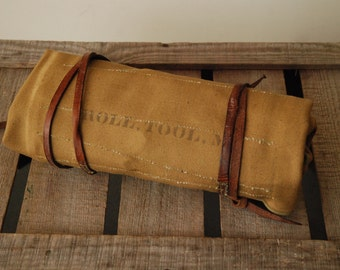 Vintage Army Tool Roll - Leather and Canvas - for Bike Fixie Fixed Gear Motorcycle Jeep 4x4