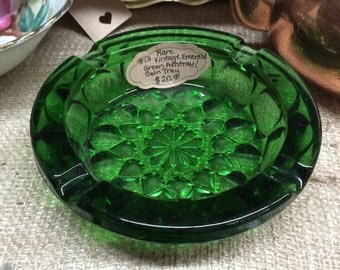 Green Glass Ashtray or Coin Tray, Vintage Rare Emerald Green Glass