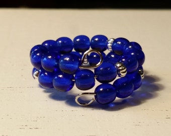 Adjustable Memory Wire Ring with Navy Blue Glass Beads and Silver Plated Spacers