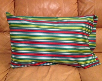 Standard size Pillow Case Striped blue, green, red