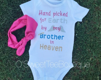 Heaven Onesie/ Matching Headwrap/ Brother Angel/ Baby Boy in Heaven/ Angel wings/ Halo