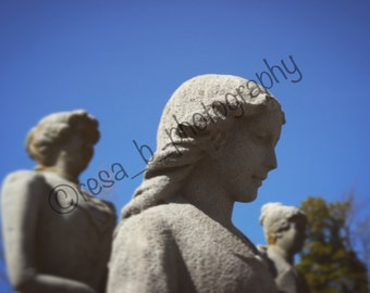 Cemetery Stone Statue of Woman Photography - Graveyard - Memorial - Kentucky - Gothic