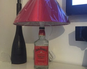 Upcycled whiskey tennesee fire table lamp, desk lamp, whiskey lover, uk lamp fitting, whiskey lamp,bottle light, Father's Day gift