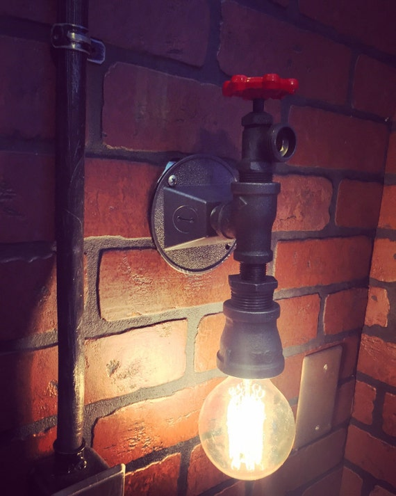 Steampunk Industrial Wall Sconce Light with operational Boiler