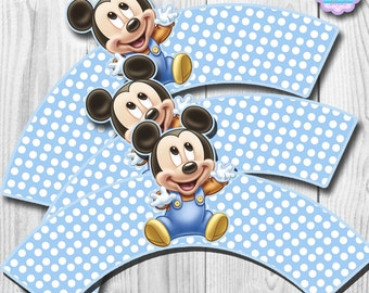 Baby Mickey Mouse Cupcake Wrappers, Cupcake Liner, DIGITAL FILE, You Print
