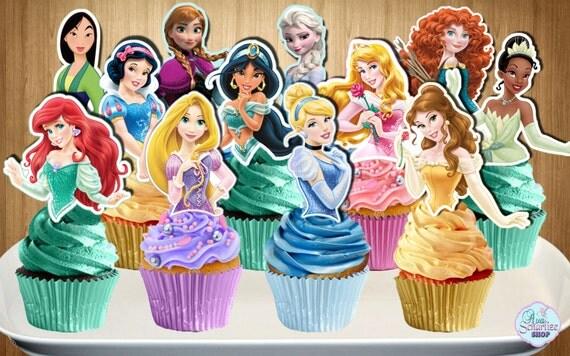 Disney Princess Cupcake Toppers 12 Disney By Avascharlizeshop