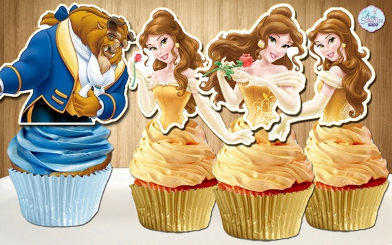 Beauty and the Beast Cupcake Toppers Princess Belle Cupcake