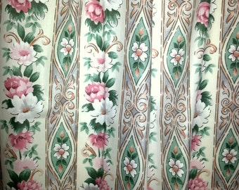 Vintage floral curtains with multi color flowers in cotton mix syntetic from Scandinavia Sweden 1950s.